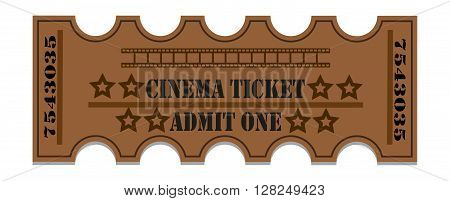 Ticket to the cinema. Cinema ticket. Old vector ticket.