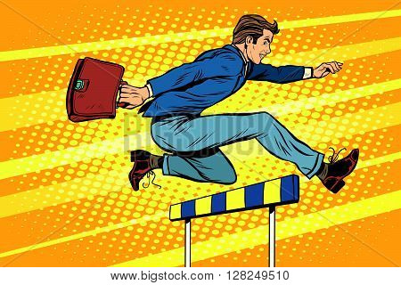 Businessman running hurdles pop art retro style. Sport and business. Business career