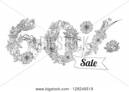 sixty (60) percents sale. Floral linear digits