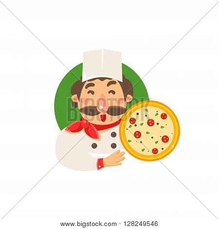 Cook Holding Pizza Flat Isolated Primitive Cartoon Style Illustration On White Background