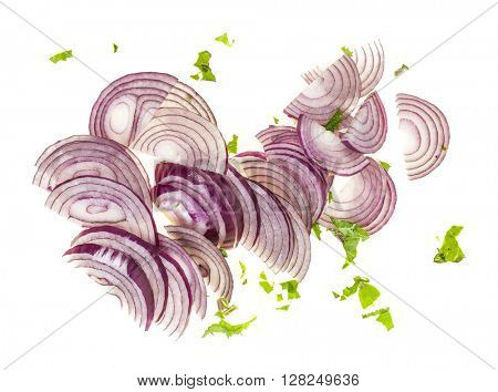 Sliced fresh red onions on white background