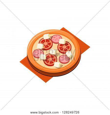 Tomato Sausage Pizza Flat Isolated Primitive Cartoon Style Illustration On White Background