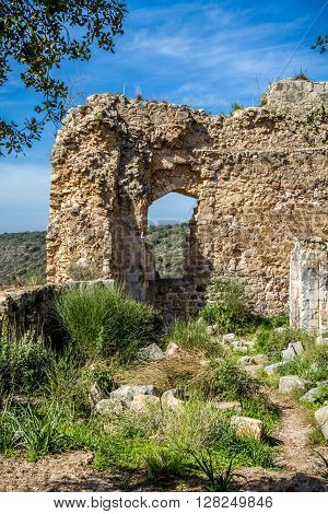 The ruins of the Montfort Castle in the mountainous area of the Upper Galilee Israel