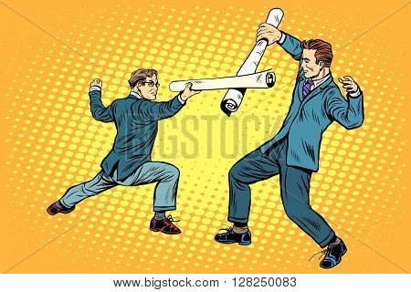 Businessmen fencing competition ideas pop art retro style. Plans and schemes. Businessmen. Architecture and construction. Sport and business