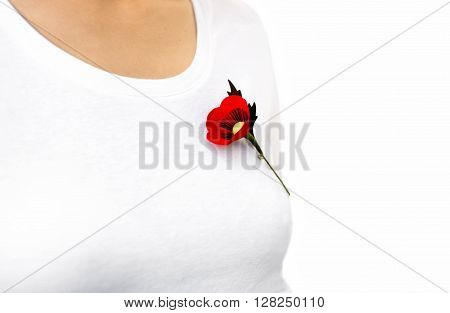 Red poppy lapel pin on woman T- Shirt for Remembrance Day