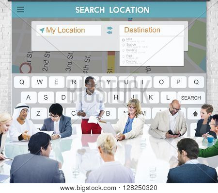 Search Location Connection Application Technology Concept