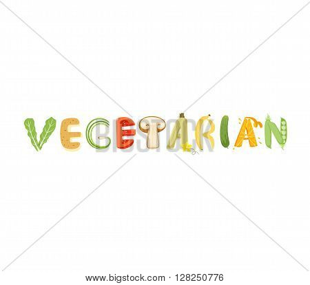 Vegetarian vegetables letter. Healthy food vector letter. Vegetarian lettering with vegetables isolated on white background. Text vector illustration. Vegetarian food vegetables font.
