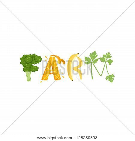 Farm food vegetables letter. Healthy food vector letter. Farm food lettering with vegetables isolated on white background. Text vector illustration. Farm food vegetables font. Farm food letter.