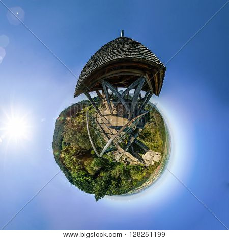 Funny little planet made from the view point on the top of the hill castle Bernstein France