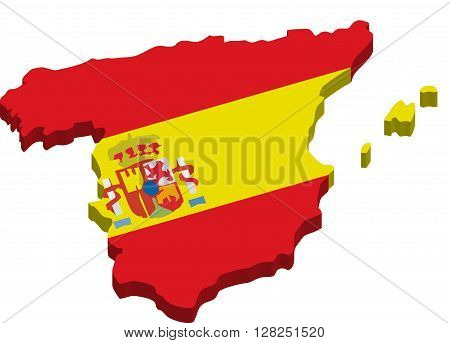 A map of Spain 3D with flag