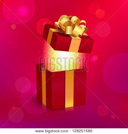 Vector Realistic Open Red Gift Box with Gold Ribbon and Bow. Magic Light Inside. Digital Illustration for Holiday Design.