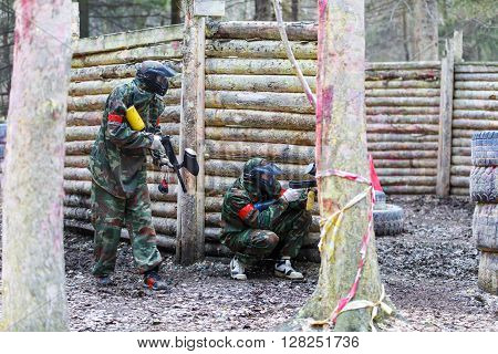Saint-Petersburg, Russia - April 10, 2016: Paintball student tournament of Bonch Bruevich university in Snaker club. Game process.