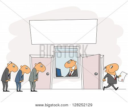 Vector illustration of queue in the office
