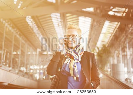 Airport Business Travel Terminal Businesswoman Concept