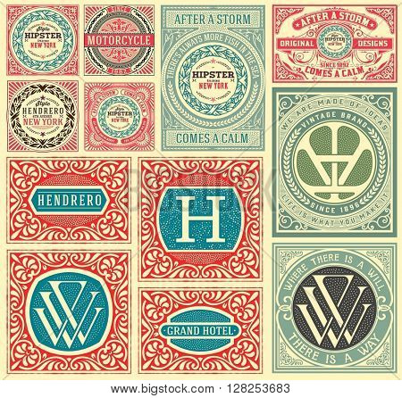 Retro cards set, with Floral Details. Vector layered