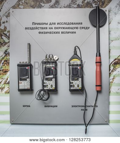 ROSTOV-ON-DON RUSSIA- APRIL 28 - Devices for the study of the physical quantities at the exhibition center