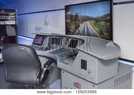 ROSTOV-ON-DON RUSSIA- APRIL 28 - The simulator of electric trains
