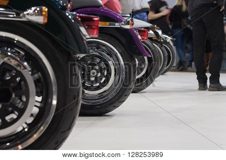 Side View Of Rear Wheels Of Motorcycle