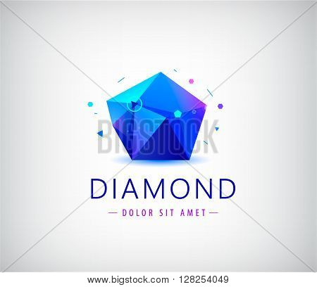 trendy flat design facet crystal gem shape logo element. 3d shiny jewelry modern logo