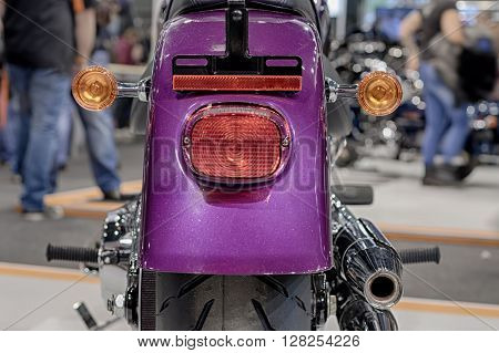 Close up of rear lights of motorcycle