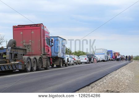 Feodosia region, the Crimea - April, 2016: traffic jam on a road in the Crimea
