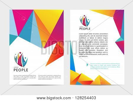 Vector document, letter or logo style cover brochure and letterhead template design mockup set for business presentations, human, leadership, community, family. Flyer, modern faceted design with logo