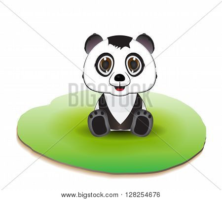 panda character illustration sitting on green field