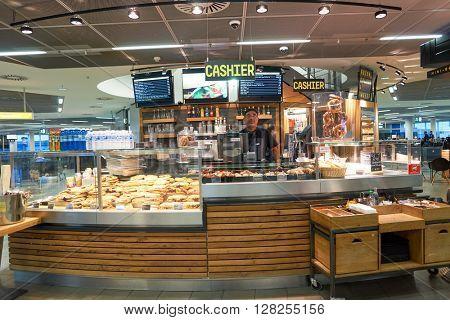 FRANKFURT, GERMANY - APRIL 07, 2016: inside of Frankfurt Airport. Frankfurt Airport is a major international airport located in Frankfurt and the major hub for Lufthansa