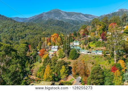 Bogong Village Autumn view, Alpine National Park Victoria