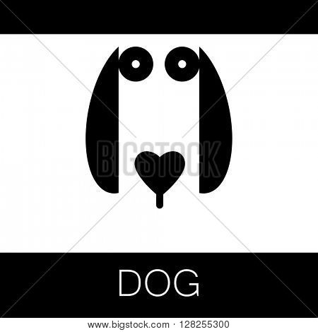 Dog logotype. Dog animal sign. Dog illustration idea for logo, emblem, symbol, icon. Vector illustration.