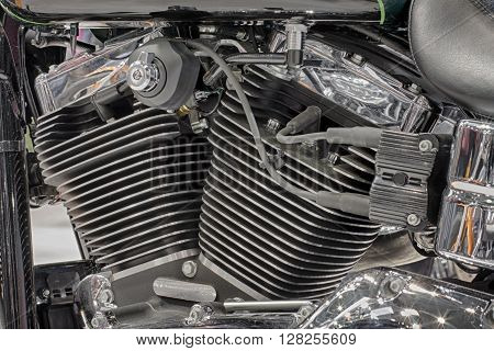 Detail Of Air Cooled Engine Of Motorcycle