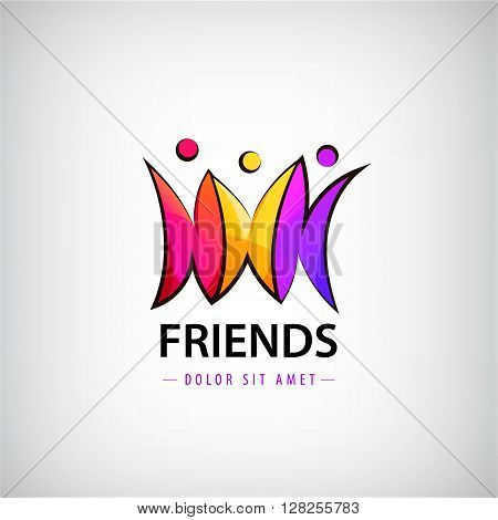 Vector colorful 3 men logo, people logo, kids logo, charity logo. Friendship and business unity logo, icon, sign