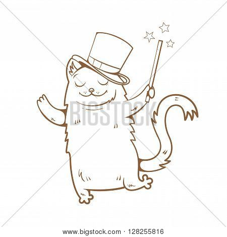 Magic card with cute cartoon  cat  in  hat magician. Magic wand. Vector image. Children's illustration. Vector image. Transparent background. Contour image.