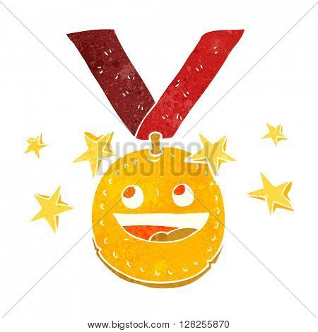 freehand retro cartoon happy sports medal