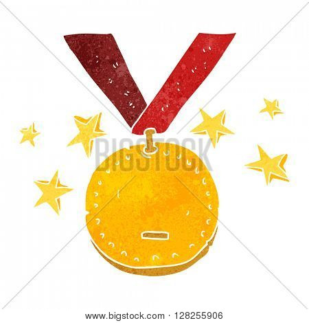 freehand retro cartoon sports medal