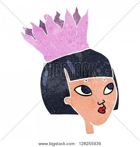 freehand retro cartoon woman wearing paper crown