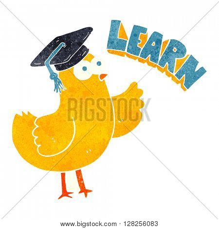 freehand retro cartoon bird with learn text