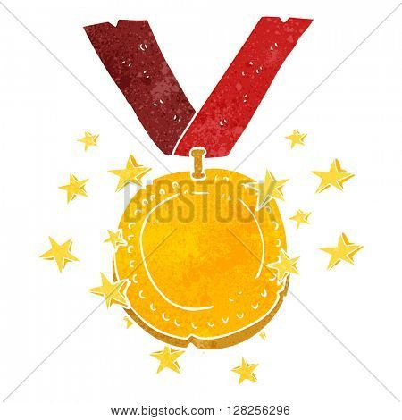 freehand retro cartoon sparkling gold medal