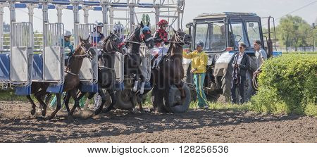ROSTOV-ON-DON; RUSSIA- MAY 02- Start of horse racing at the racetrack on the opening day on May 02 2016 in Rostov-on-Don
