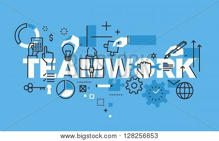 Modern thin line design concept for TEAMWORK website banner. Vector illustration concept for business people teamwork, human resources, career opportunities, team skills, management.