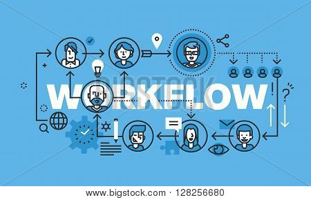 Modern thin line design concept for WORKFLOW website banner. Vector illustration concept for business workflow, management and procedures.