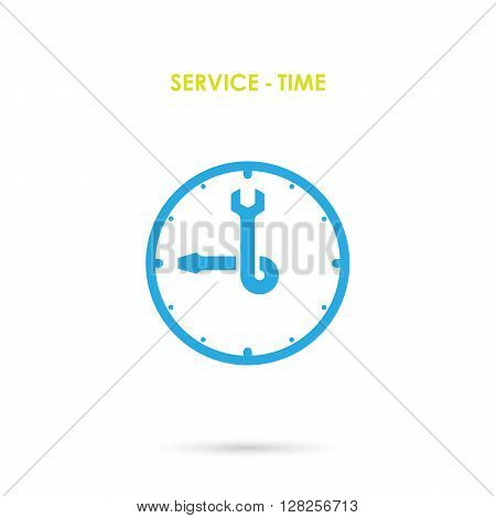 Maintenance and repair Time.Repair logo elements design.Maintenance service and engineering creative symbol.Business and industrial concept.Vector illustration.