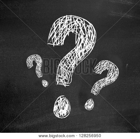 Questions on a blackboard