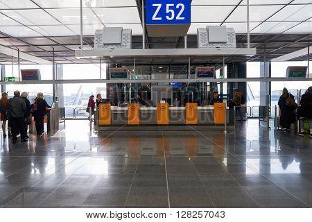 FRANKFURT, GERMANY - MARCH 13, 2016: inside of Frankfurt Airport. Frankfurt Airport is a major international airport located in Frankfurt and the major hub for Lufthansa