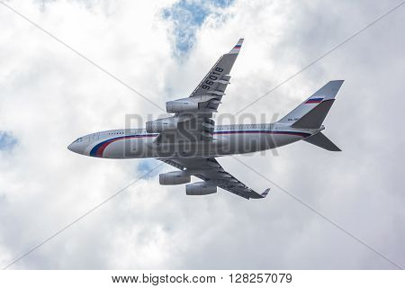 VNUKOVO RUSSIA - September 14th: Aircraft operated by Rossiya Airlines OJSC landing in Moscow airport in Vnukovo on September 14th. The company Rossiya Airlines