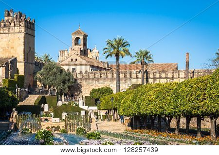 Cordoba, Spain- 12 March 2015:The famous Alcazar with beautiful garden in Cordoba Spain
