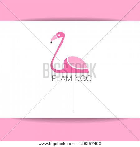 Flamingo logo. Vector Illustration of a Flamingo isolated on white background.  Exotic bird. Flamingo illustration idea for logo, emblem, symbol, icon.
