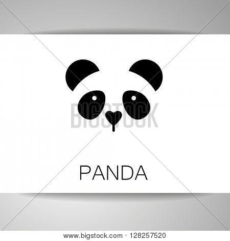 Panda logo. Isolated panda head on white background.  Identity card template. Panda head silhouette. Vector illustration.