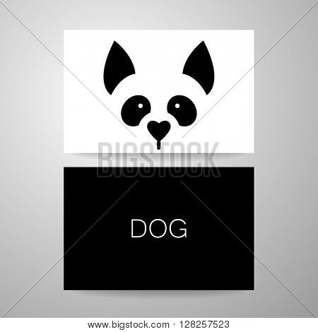 Dog sign. Dog card design template. Dog illustration idea for logo, emblem, symbol, icon. Vector illustration.