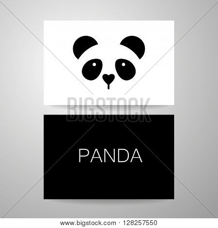 Panda. Identity card design. Panda design idea for logo, emblem, symbol, icon.Vector illustration.